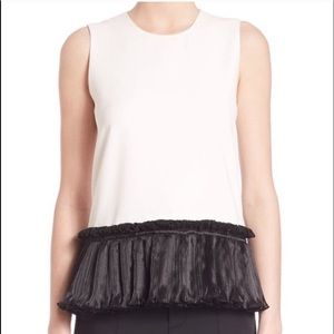 Open Ceremony | white sleeveless black ruffle hem